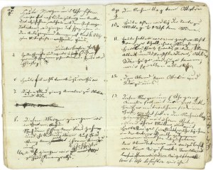 Image shows two pages from a child's diary with several short entries of scribbled text.